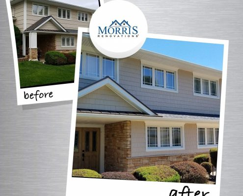 Siding Before and After Photo in Morristown NJ color is savanah whicker