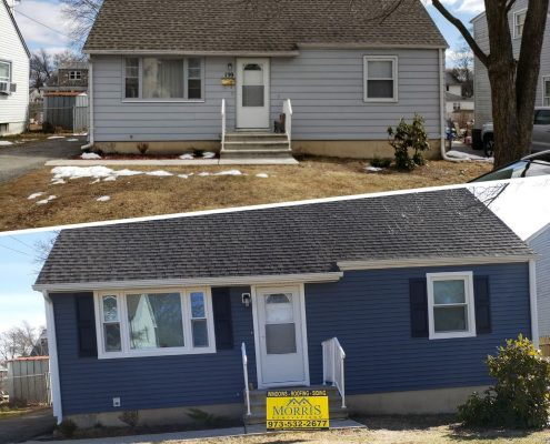 Before and after picture of ranch house with old grey siding following a picture of new dark blue siding with white trim Morris Renovations job sign in front of the house