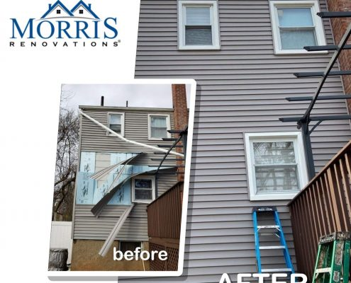 Before and after picture of a house with torn off siding prior to emergency siding repair contractor repairing it. after picture shows the grey vinyl siding that has been matched perfectly without signs of any previous siding damage.