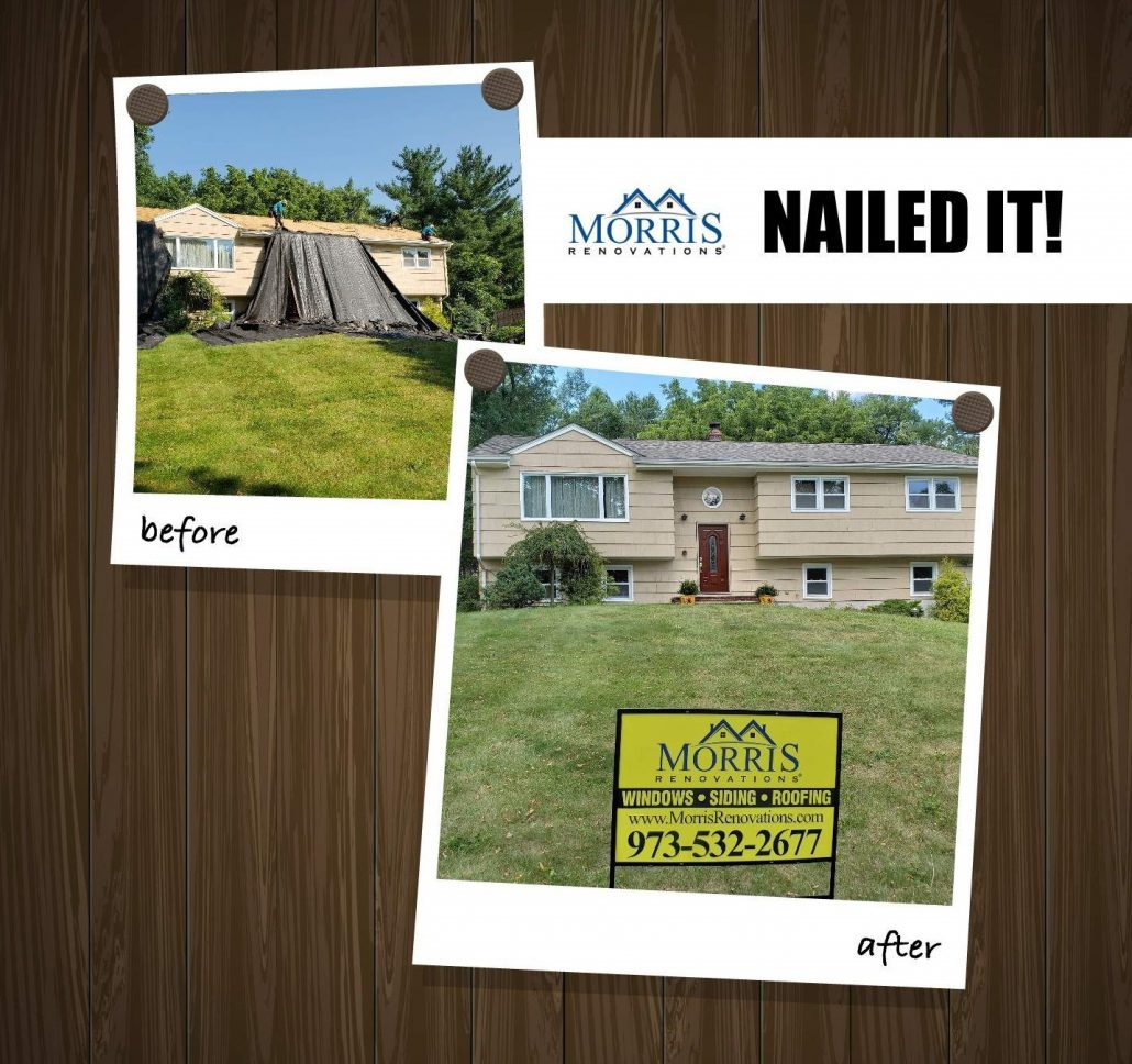Before and After picture of roofing installation nj. Before picture shows ripped off roof with tarp draping over the roof. The after picture shows a roofing contractors sign in front of the house with a newly installed roof. Morris renovations is written on the yard sign