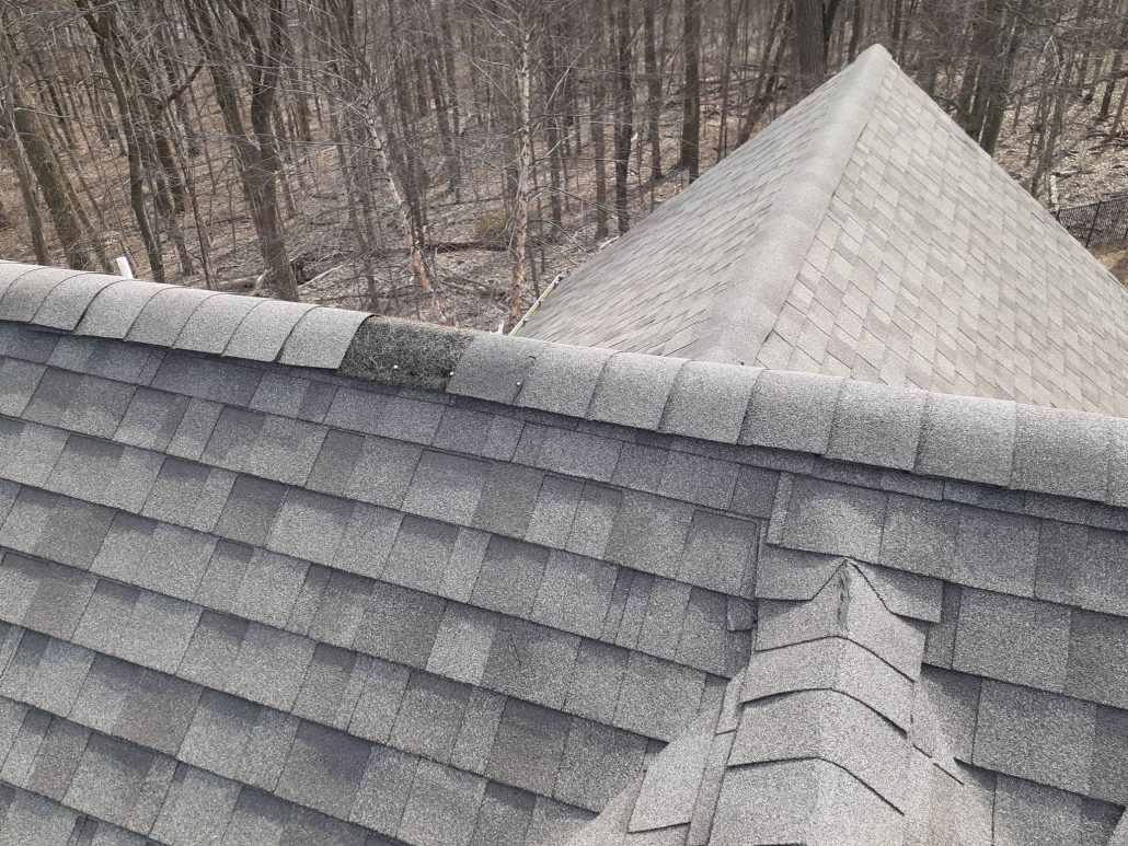 picture of emergency roof repair, roof that has 3 ridges meeting. one of the ridge caps shingles is missing revealing the ridge vent. Signs for emergency roof repair because water can enter the house through the roof.