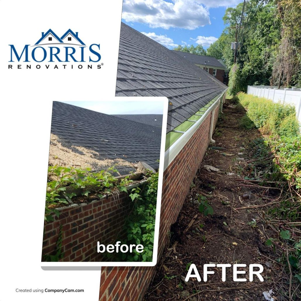 Before and after picture of gutter replacement nj. Before pictures shows clogged gutters with overgrown branches and after shows a clean gutter that water can easily flow through.