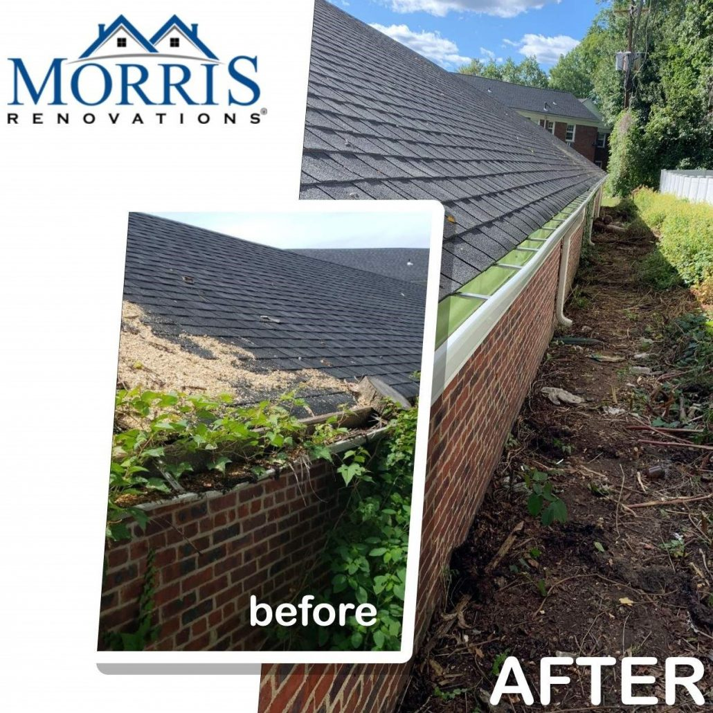 Before and after picture of Seamless House Gutters. before picture shows clogged gutters with overgrown shrubs the after picture shows clean gutters.